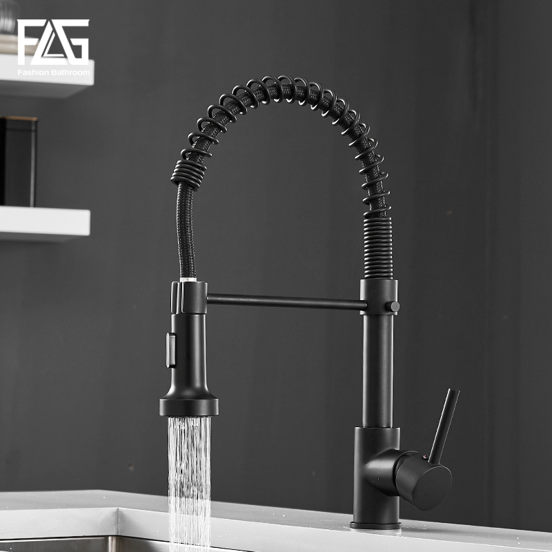FLG Kitchen Faucets Black Brass Faucets For Kitchen Sink Single Lever Pull Out Spring Spout Mixers Tap Hot Cold Water Crane 189
