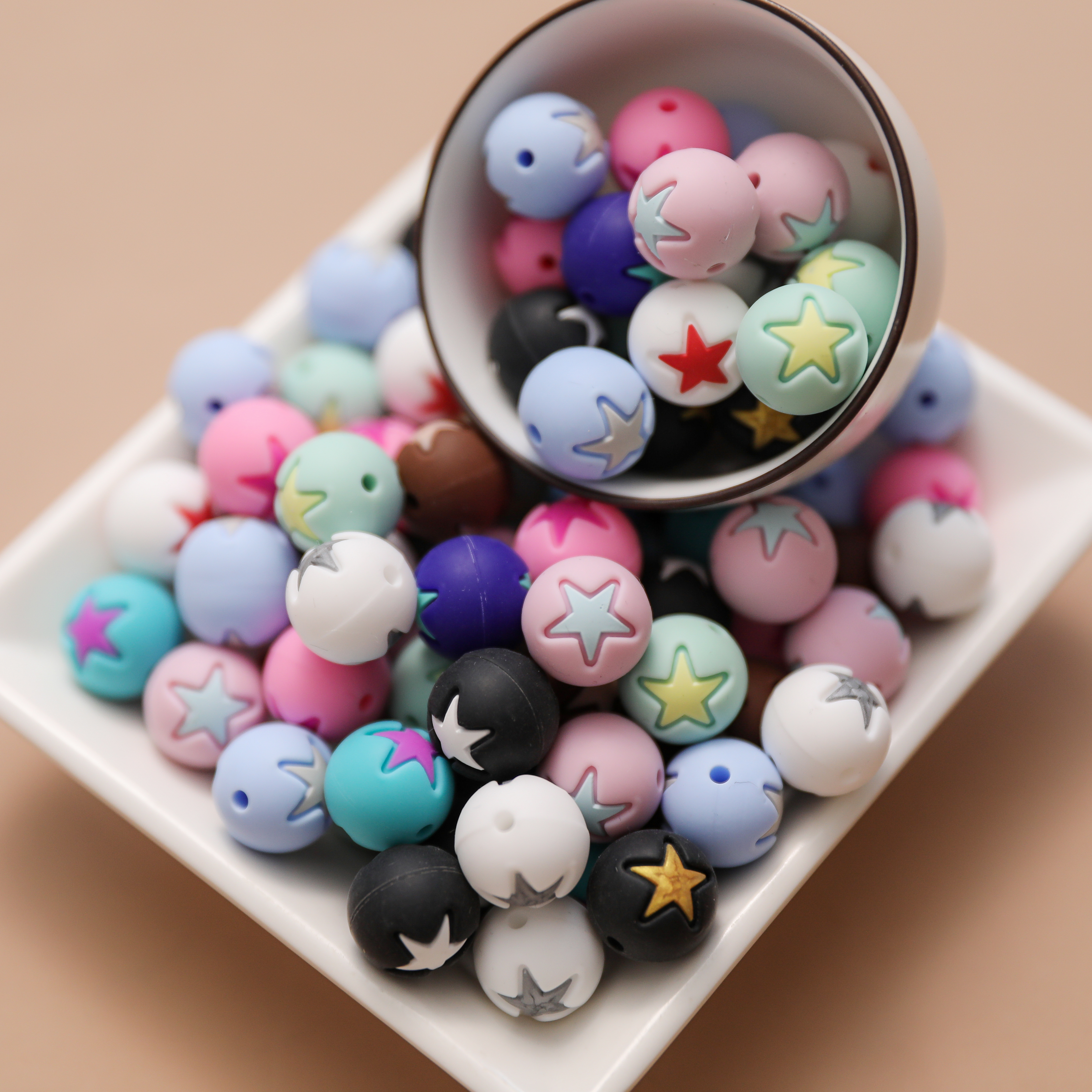 20 Pcs BPA Free Silicone Beads 15mm Baby Teether Silicone Beads DIY Food Grade Chewable Star Round Beads for Make Necklace