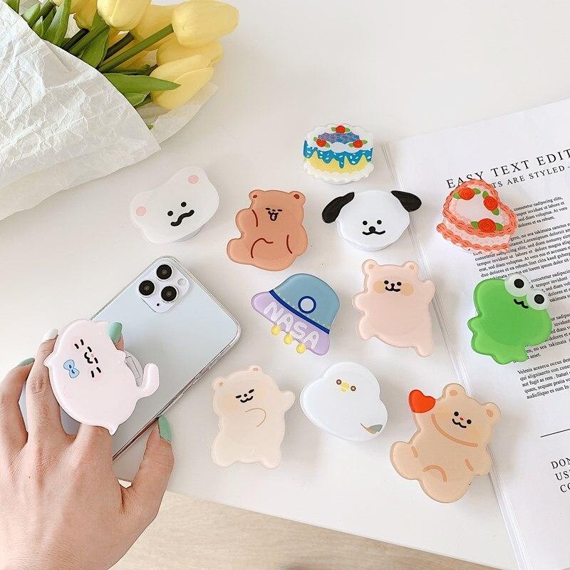 Korea Design Cute Animals Phone Stand Holder Desk Sticker Universal Cellphone Tablet Accessoreis