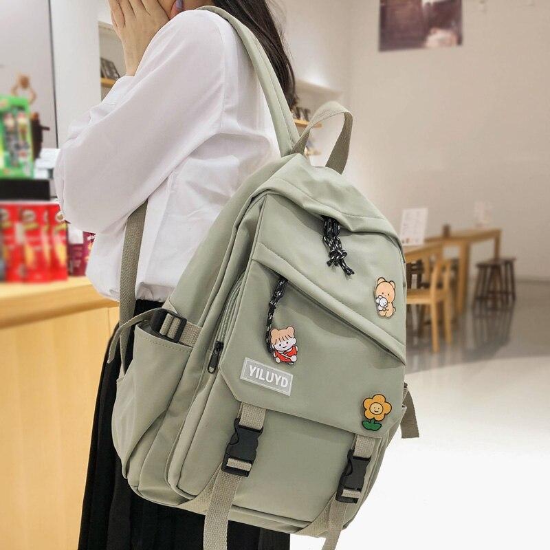 Женский рюкзак из водонепроницаемого нейлона DIFA, однотонный дорожный рюкзак с пряжкой для девочек подростков|Рюкзаки| | АлиЭкспресс