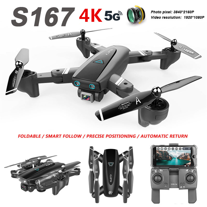 S167 GPS Drone 4K HD Camera 5G WIFI FPV  Smart follow Gesture Photos RC Quadcopter Professional Helicopter Toy for kids