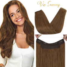 VeSunny Halo Extensions Remy Human Hair Brown Secret Fish Line Hairpiece for Women Halo