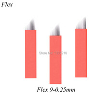 Flex 9 Diam 0.25mm Red Microblading Tattoo Needles Flexy Manual Blades for Permanent Makeup Pen