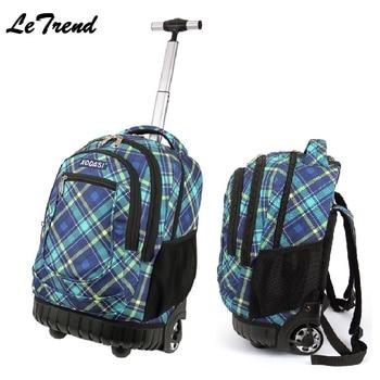LeTrend Trolley Backpack Waterproof Trolley Bag Luggage Computer Layer Multi-function Pocket Boarding Travel Bag