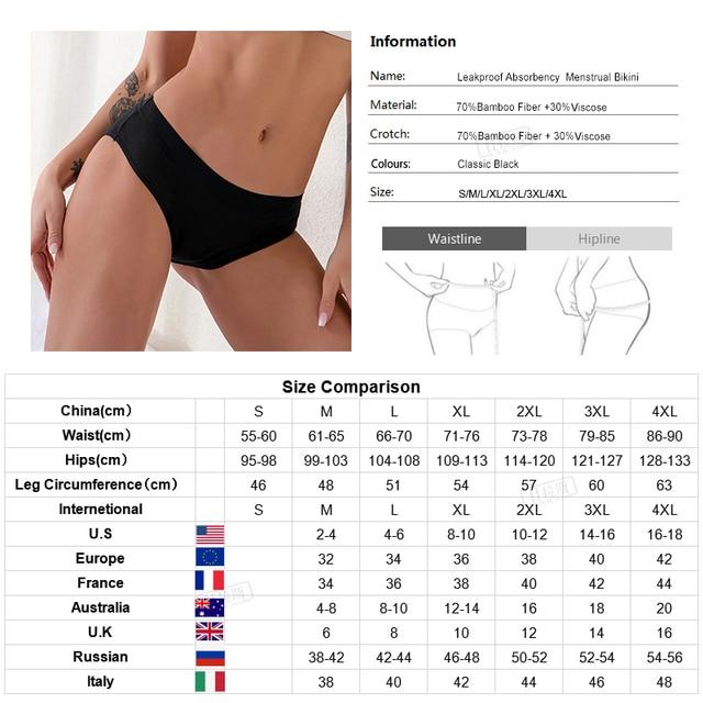 4-Layer Leakproof Women Panties Menstrual Underwear Period Absorbtent Bamboo Heavy Absorbency Briefs 6