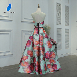Image 2 - DEERVEADO Evening Dress Long Flower Print Formal Dress Elegant Woman Occasion Party Dresses Evening Gown Robe De Soiree M218