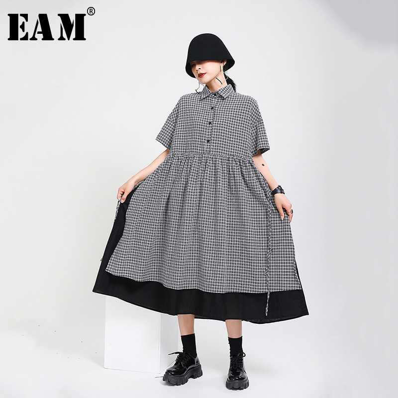 [EAM] Women Black Plaid Pleated Big Size Long Shirt Dress New Lapel Half Sleeve Loose Fit Fashion Tide Spring Summer 2020 1Y352