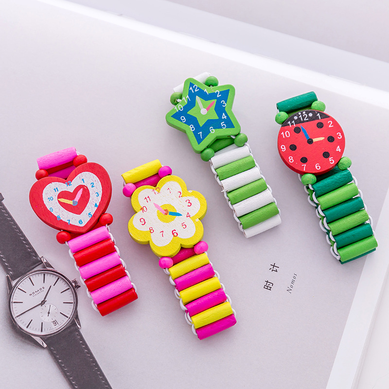 Cute Cartoon Boys Girls Wooden Watch Bracelet Children Student Clock Stationery Gifts Crafts Toys Random 1PC