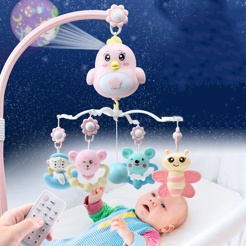 0-12 Month Baby Bed Bell Music Rotate Rattle With Remote Control Teether Rattle Pendant Projection Early Education Sensory Toys
