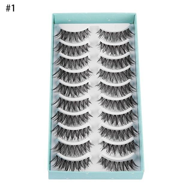 10Pairs Natural False Eyelashes Fake Lashes Wispy Thick Long Crisscross Lashes Extension Handmade Eyelash Charming Eyes Makeup 3