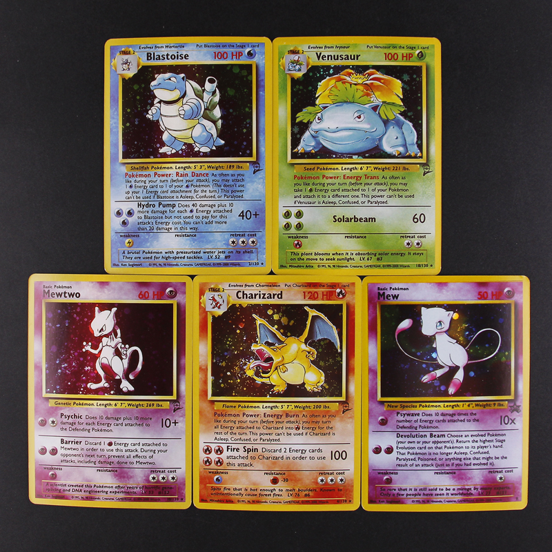 5pcs/set 1996 First Edition Pokemon Charizard Blastoise Venusaur Mewtwo MEGA Flash Cards Collection Battle Children's Toys Gift