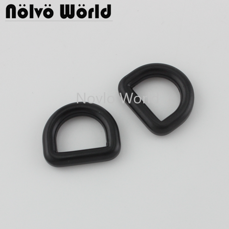 10 Pieces Test,Black Color 12.3X10mm 1/2 Inch Smal Closed D Ring For Purse Adjust Hardware,1/2