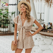 Conmoto bow sleeveless wide leg women short jumpsuits rompers casual loose bow t