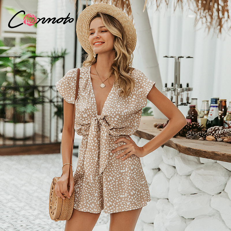 Conmoto bow sleeveless wide leg women short jumpsuits rompers casual loose bow tie playsuits leopard sleeveless short rompers(China)
