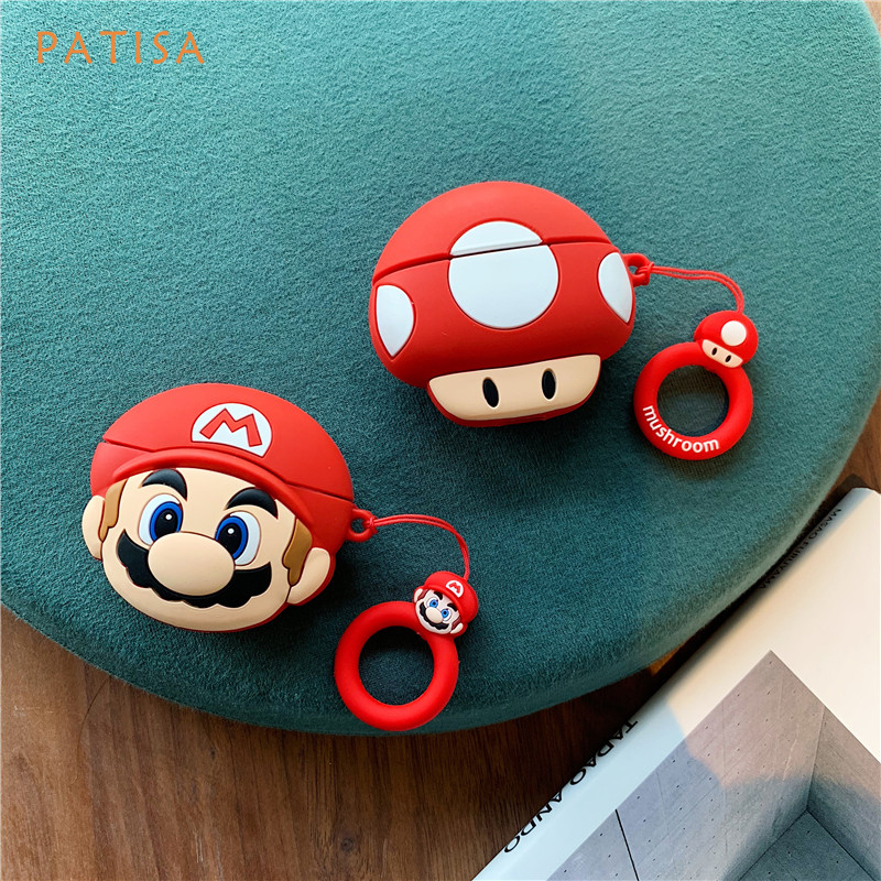 Cute Super Mario Brothers Mushroom Toad Headphone Case For Airpods 1 2 Soft Silicone Earphone Protection For Airpods Pro Cover