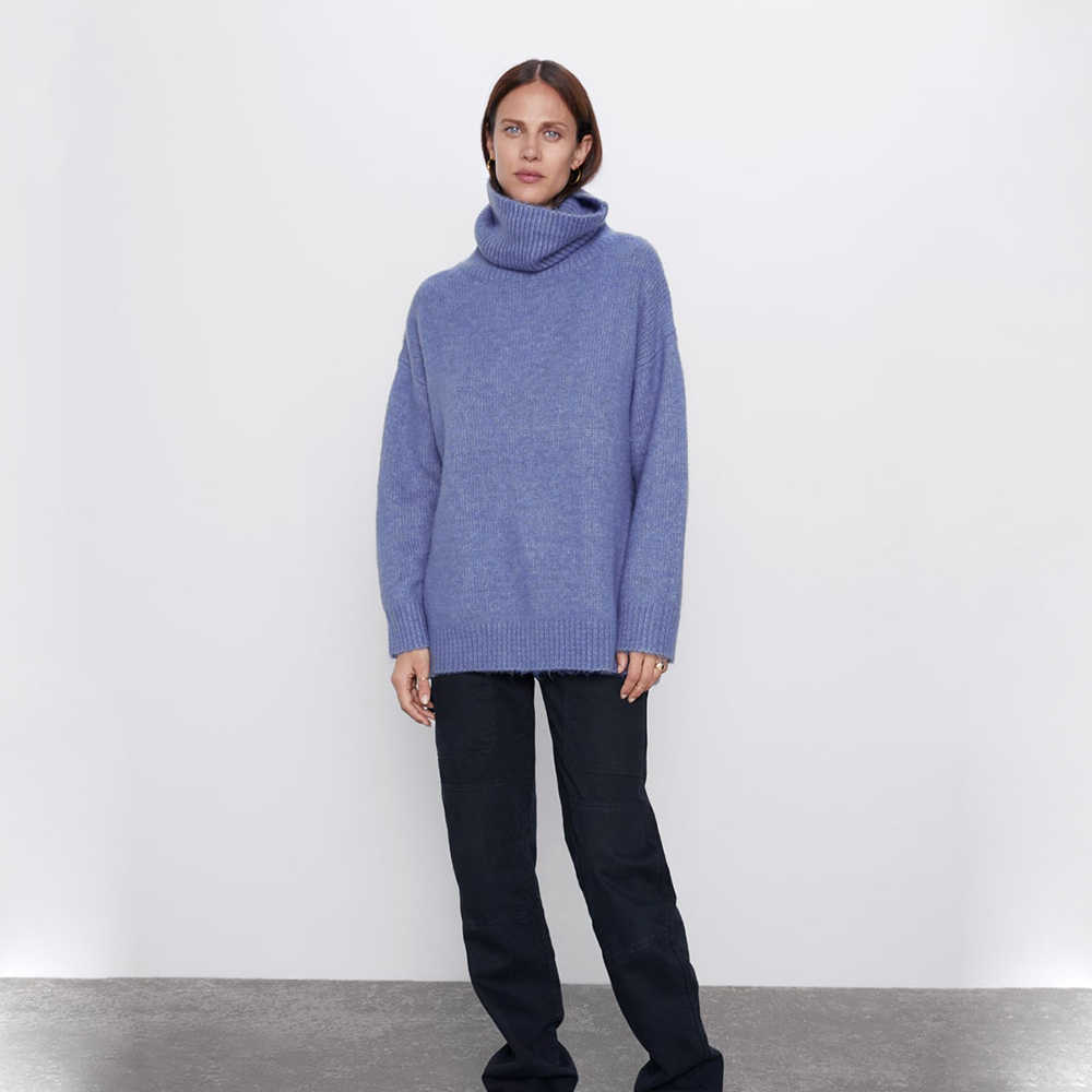 Za 2019 여성 스웨터 느슨한 높은 칼라 계층화 된 긴 소매 풀오버 스웨터 블루 핑크 그레이 야생 외부 스웨터