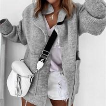 Jodimitty jesień nowy kardigan kobiet sweter Pure Color luźny z klapami kołnierz długi sweter z rękawem zima kobiety modne płaszcze 2020 tanie tanio Poliester Akrylowe CN (pochodzenie) Wiosna jesień Polyester Komputery dzianiny Stałe long Skręcić w dół kołnierz