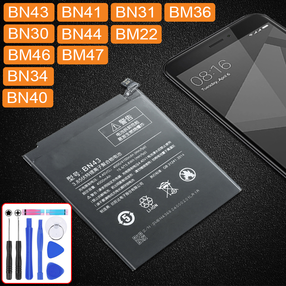 For Xiao <font><b>Mi</b></font> Replacement <font><b>Battery</b></font> For Xiaomi Redmi 3 3S 3X 4X 4A 5A 3 pro <font><b>5</b></font> Plus Note 3 4 4X <font><b>5</b></font> 5A 6 7 Pro Mi5 <font><b>Mi</b></font> 5X <font><b>Batteries</b></font> image