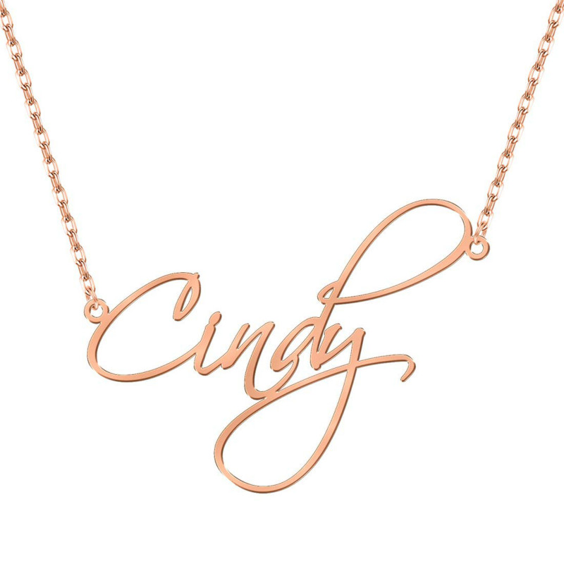Duoying Nameplate Pendant Necklace For Women Chain Necklaces Women Personalized LetterNecklace