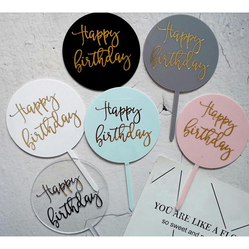 1Pc HAPPY BIRTHDAY Acrylic Cake Topper Dessert Baking Party Decoration-1