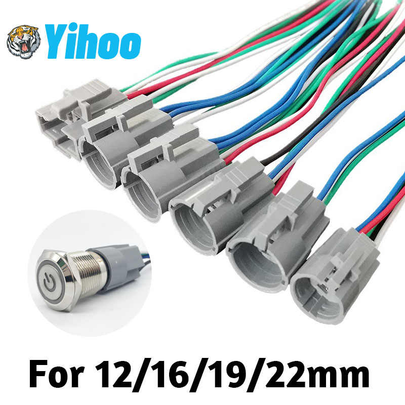 12Mm 16Mm 19Mm 22Mm Kabel Soket untuk Logam Push Button Switch Kabel 2-6 Kabel stabil Lampu Lampu Tombol