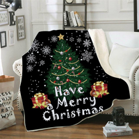 Drop Shipping Throw Blanket 3D Printed Christmas Velvet Plush Sherpa Fleece Blanket For Sofa Microfiber Couch Cover Bedspread