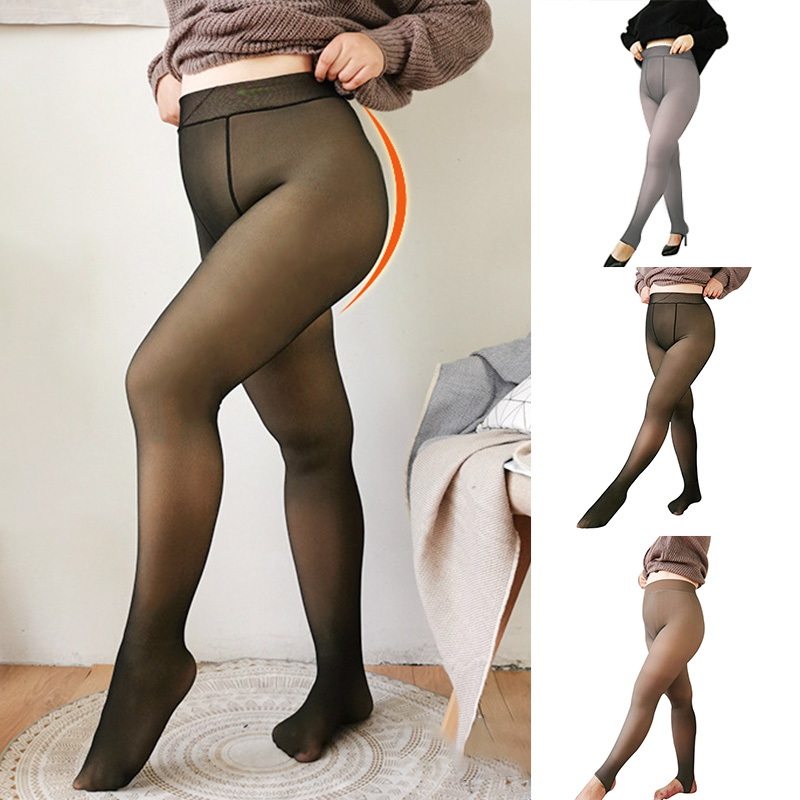 New Legs Fake Translucent Warm Fleece Soft Leggings Thick Stretchy For Women 2020 Fashion Leggings Women Plus Size