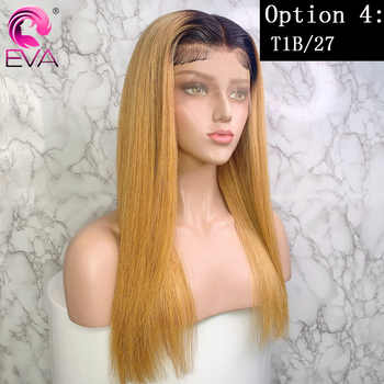 Eva 13x6 Ombre Lace Front Human Hair Wigs Pre Plucked With Baby Hair Colored Highlight Straight Lace Front Wigs Brazilian Remy