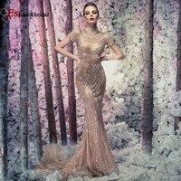 Glitter Dubai High Neck Evening Dress for Women 2020 Arabic Mermaid Diamond Mermaid Prom Dress Occasion Formal Party Gowns