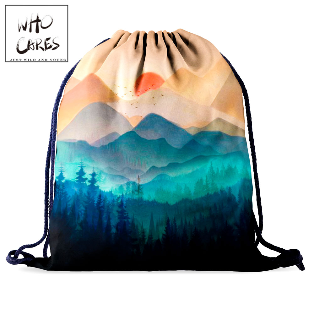 Who Cares Drawstring Bag Backpack Women Shopping Bag Scape 3D Printing Portable Shoe Bag Outdoor Soft Travel Bag