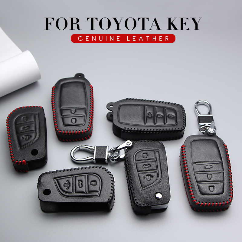 Leather Car Key Case Fob Cover For <font><b>Toyota</b></font> CHR Auris Vitz Aygo <font><b>Prado</b></font> Camry V70 RAV4 Fortuner <font><b>2019</b></font> 2020 Key Ring Shell <font><b>Accessories</b></font> image