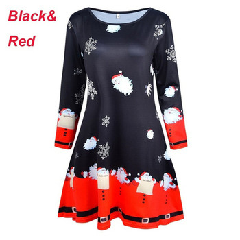 2019 New S-5XL Plus Size Christmas Long Sleeve  Ropa Mujer Print Dress Women Clothes Loose Black Red Knee Length Party Dresses