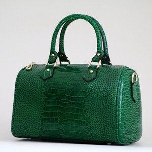 Image 2 - Luxo boston saco de couro genuíno das mulheres saco \ bolsa de leopardo padrão marca senhora travesseiro tote bolsa de ombro grande bolsa crossbody