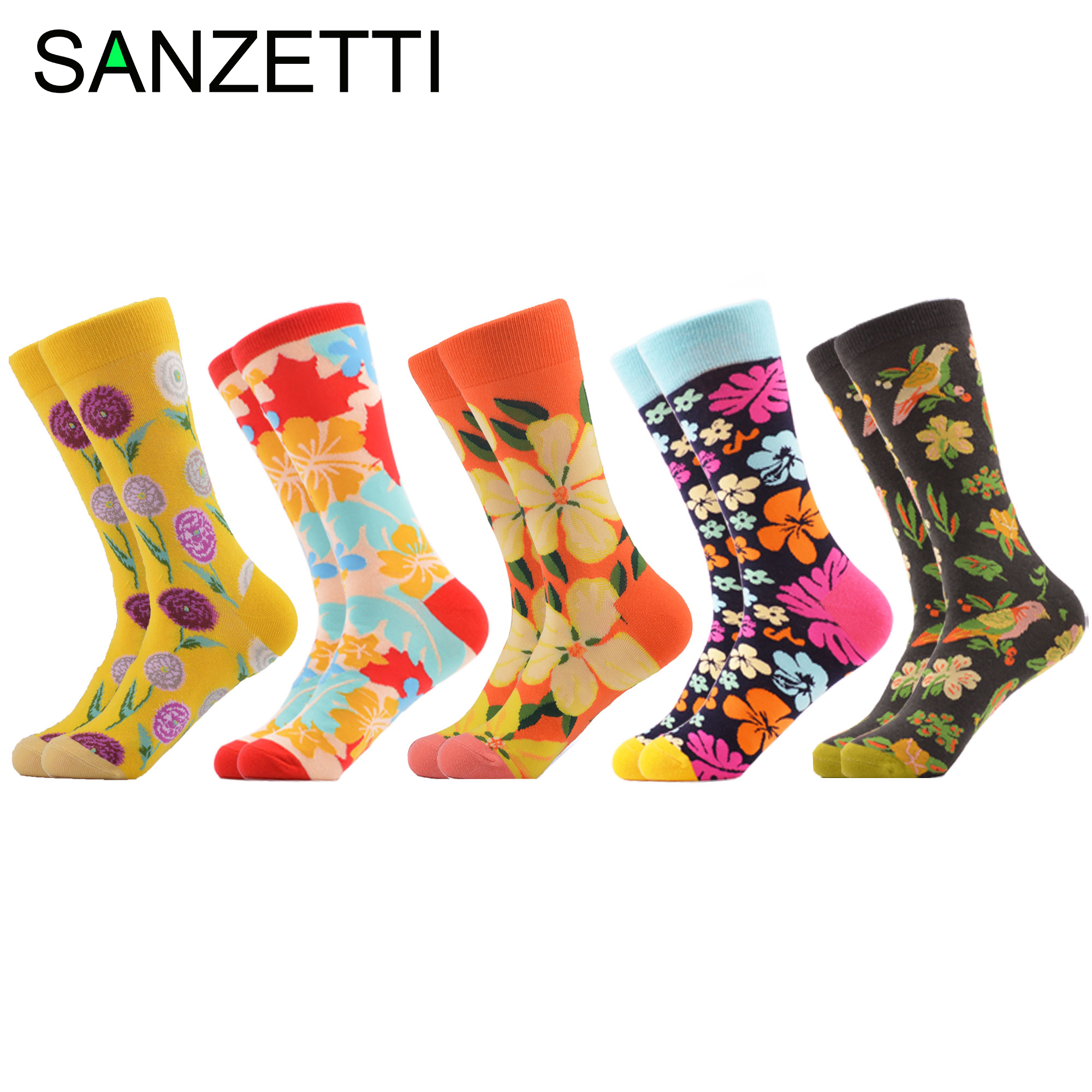 SANZETTI 5 Pairs Mens Casual Combed Cotton Happy Crew Socks Personality Maple Leaf Pattern Party Gifts Creative Dress Gym Socks