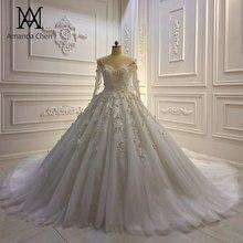 Robe de mariée en dentelle, manches longues, avec des Appliques en dentelle de fleurs 3D