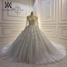 Trouwjurk Tay Dài Ren Appliques 3D Hoa Váy Cưới