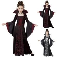 Fantasia de halloween para crianças, traje para cosplay de vampiro, bruxa, halloween feminino, roupas de desempenho para festas