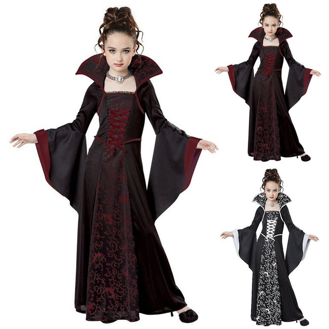 هالوين زي للأطفال الفتيات الساحرة مصاص دماء تأثيري حلي disfraz هالوين mujer أداء الأطفال الملابس للحزب