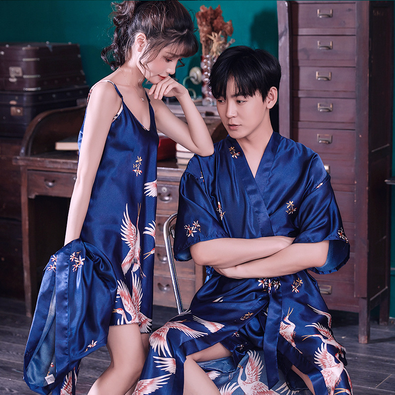 FZSLCYIYI Silk Kimono Robe Lovers Couple Nightgown Sets For Women Men Bath Gown Sleepwear Sexy Short Robe Nightwear Pajamas