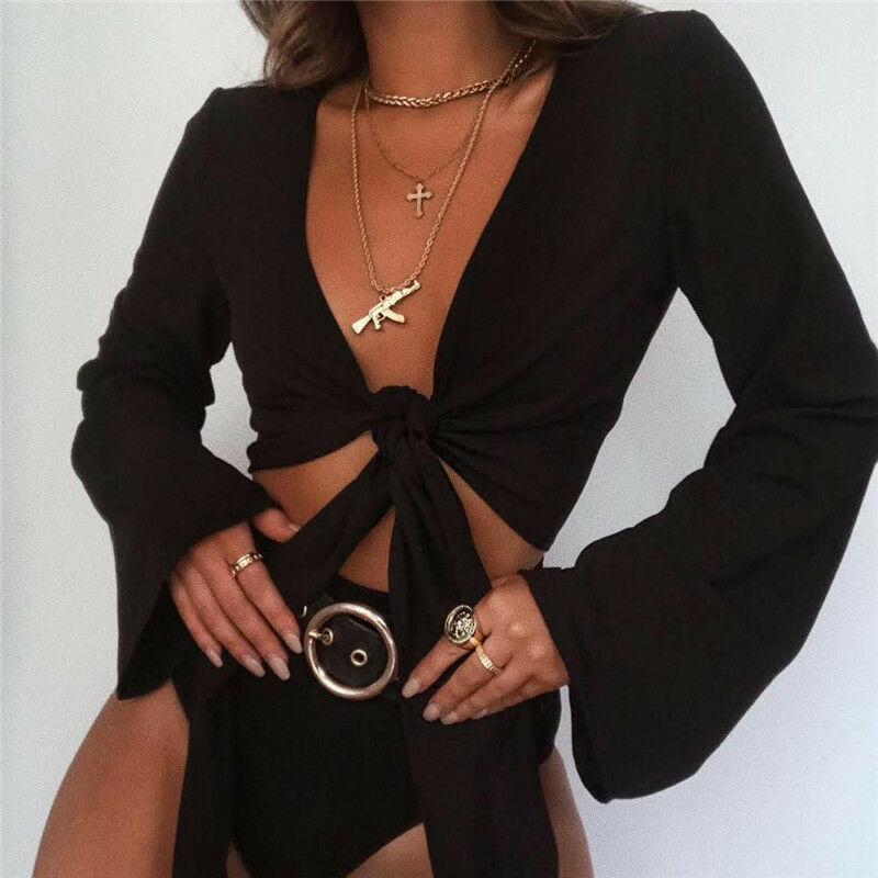 Fashion Women Crop Top Casual Tie-Front Crop Tops V-neck Flared Sleeve T-Shirt Bow Ladies Tops Woman Shirt Summer Tee Shirt