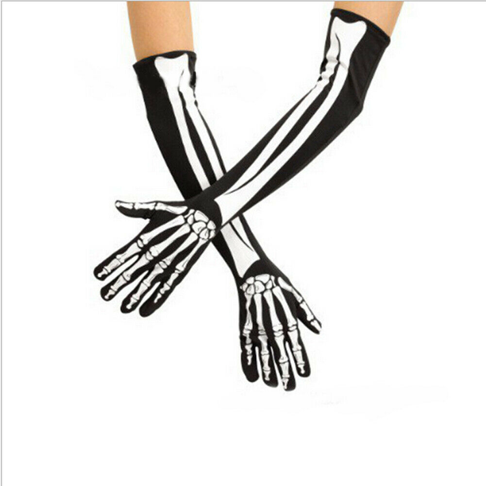 Adult Party Costume Halloween Ghost Gothic Black Skull Skeleton Bone Long Gloves Arm Warmer