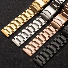 Ремешок из нержавеющей стали для наручных часов, однотонный металлический браслет для мужчин и женщин, аксессуары для часов, 18 мм 19 мм 20 мм 21 ...