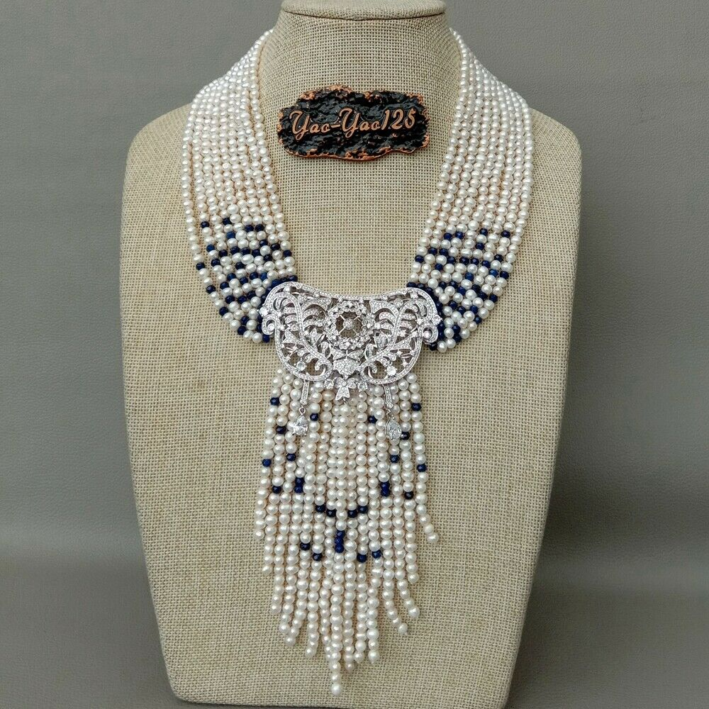 18'' 9 Strands Freshwater Cultured White Pearl Blue J1ade Necklace CZ Pendant