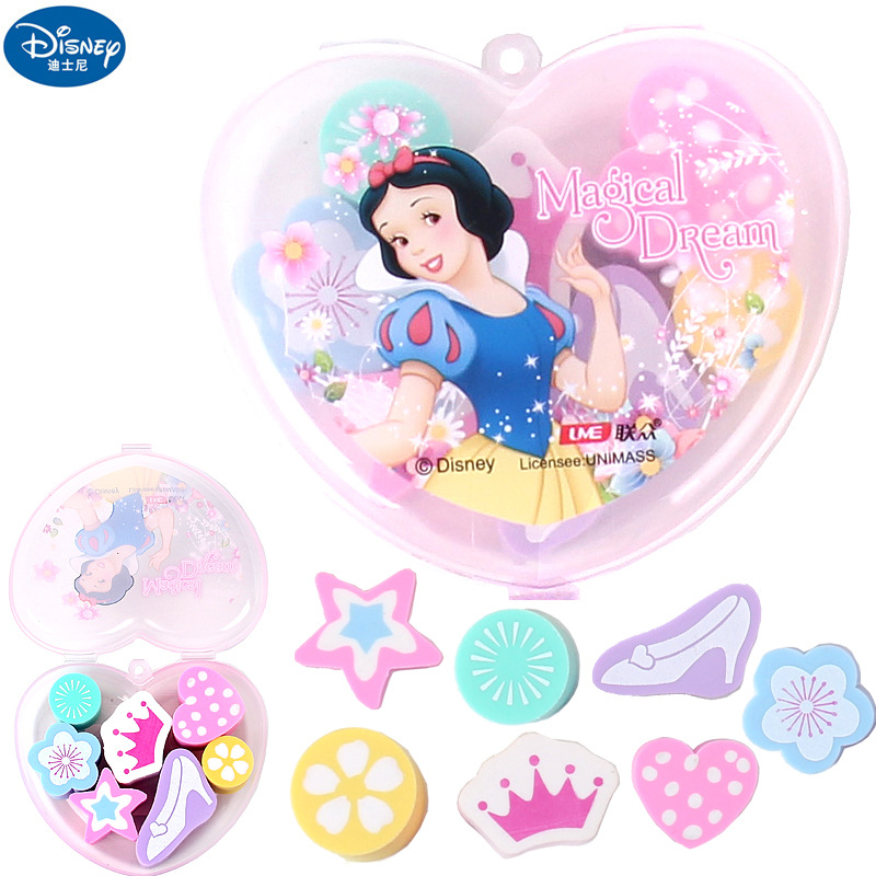 Disney Snow White Cartoon Heart Shaped Boxed Eraser Mickey Minnie Novelty Eraser Cute Stationery School Supplies