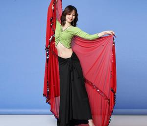 Image 3 - Kobiety taniec brzucha szalik Malaya duży rozmiar rzucony szaliki Sequine zdobione połysk rekwizyty sceniczne czarne czerwone welony