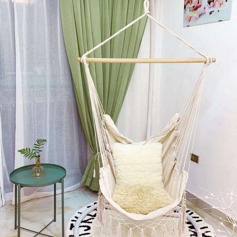 Outdoor Portable Bohemia Style Hammock Chair Beige Cotton Rope Net Swing Rope Balcony Indoor Garden Hanging Chair