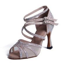 Женщин?с бальные Латинской танцевальная обувь черный серебряный бачата сальса танго высокие каблуки 6/7.5/9см мягкой подошвой 1057