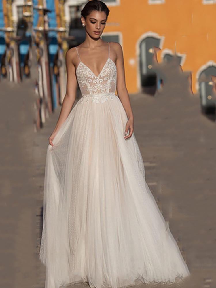 Wedding-Dress Spaghetti-Straps Lace Backless Boho Bohemian Beach V-Neck Eightree Vestido-De-Noiva