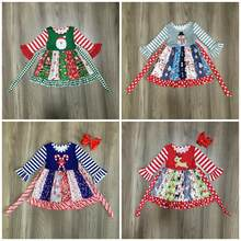clothes Christmas girls baby cotton Fall/Winter Santa claus hook candy cane stripe ruffle dress boutique knee length match bow(China)
