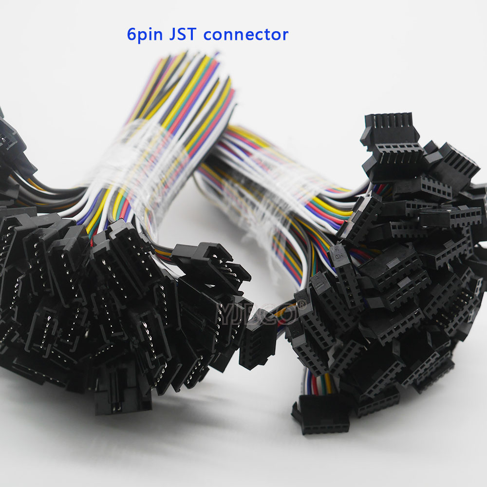 10 Pairs 6pin JST connector 15cm cable Male and Female plug and socket connecting SM Cable Wire for 6 Pin RGB CCT LED Strip